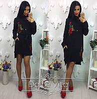 Женское модное черное платье-рубашка с вышивкой и поясом, фото 1