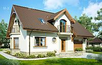 MX106. Современный мансардный дом с гаражом