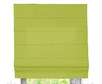 Римская штора с тканью Лен Зеленый ширина 100 см /высота 160 см