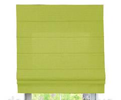 Римская штора с тканью Лен Зеленый ширина 40 см /высота 160 см