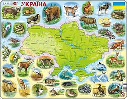 Пазл рамка-вкладыш Карта Украины - животный мир Lasren серия Макси (K37)