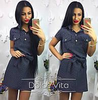 Женское модное платье-рубашка с поясом в горошек, фото 1