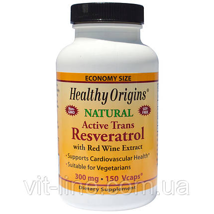 Healthy Origins, Активный транс-ресвератрол, 300 мг, 150 вегетарианских капсул, фото 2
