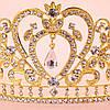 Диадема свадебная Тиара Фиона голд корона высокая золотая украшения для волос короны диадему, фото 6