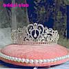 Диадема свадебная Тиара Фиона голд корона высокая золотая украшения для волос короны диадему, фото 7