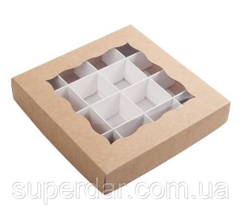 Коробка для конфет 150х150х30 мм., крафт, с разделителями