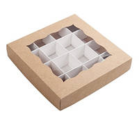 Коробка для конфет 150х150х30 мм., крафт, с разделителями, фото 1