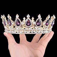 Круглая корона в золоте с фиолетовыми камнями, диадема, тиара, высота 5,5 см.