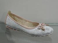 Модные женские кожаные балетки легкие удобные с перфорацией