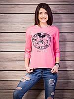 Розовая женская кофточка с Микки Маусом