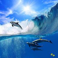 Панно Дельфины  - фотопечать кафель, плитка 20х30см.
