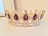 Кругла корона в золоті з фіолетовими камінням, діадема, тіара, висота 5,5 див., фото 3