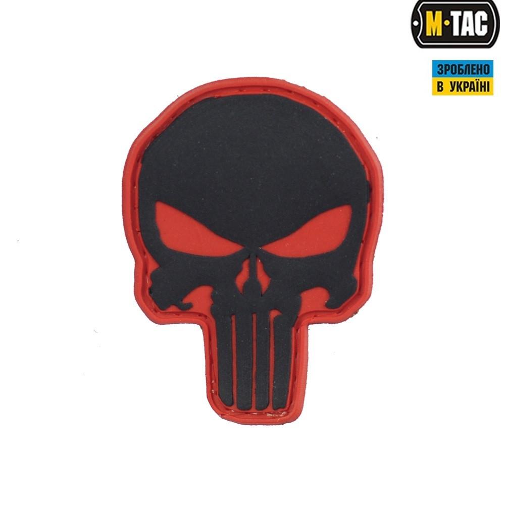 M-Tac нашивка Punisher ПВХ красно-черная