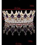 Кругла корона в золоті з фіолетовими камінням, діадема, тіара, висота 5,5 див., фото 2