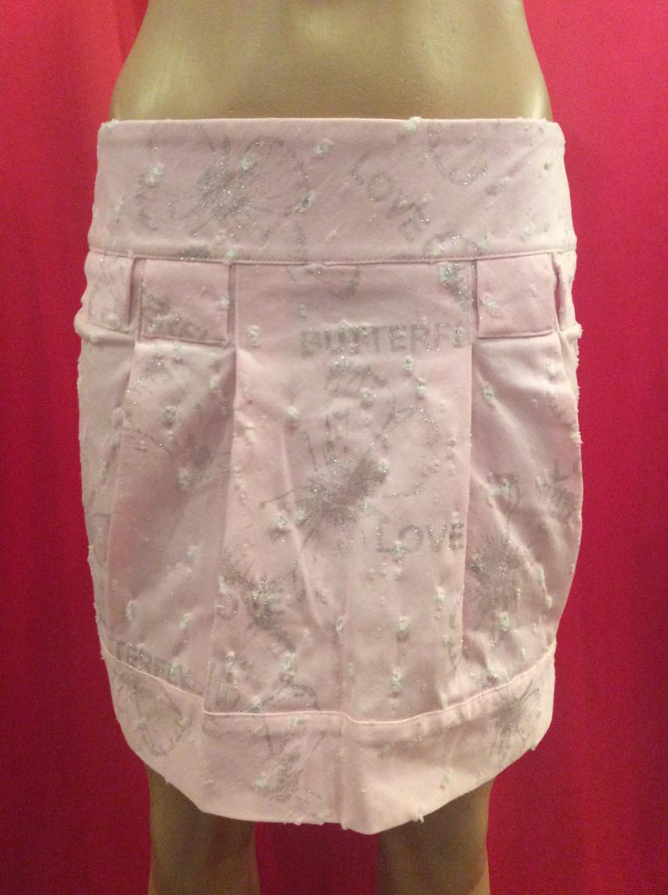 Розовая коттоновая молодежная мини-юбка с блестками Ю58