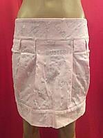 Розовая коттоновая молодежная мини-юбка с блестками Ю58, фото 1