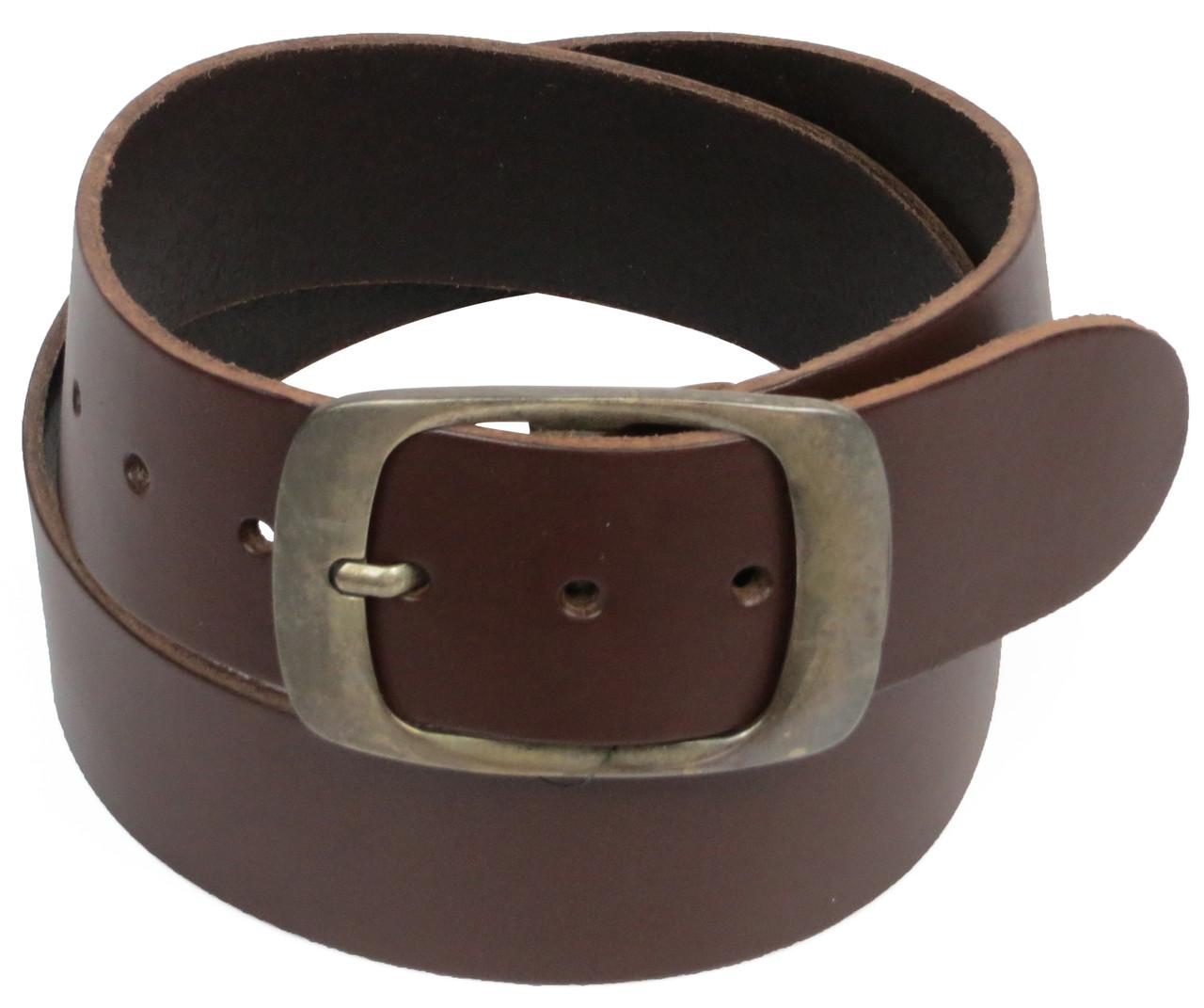 Широкий мужской кожаный ремень под джинсы, Cramer & Co, Германия, 100140 темно коричневый, 5х110 см