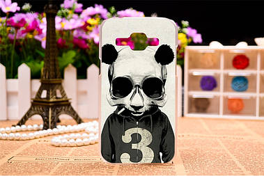 Чехол силиконовый бампер для Samsung Galaxy J1 J00 с рисунком панда с цифрой три