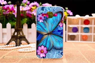 Чехол силиконовый бампер для Samsung Galaxy J1 J00 с рисунком синяя бабочка