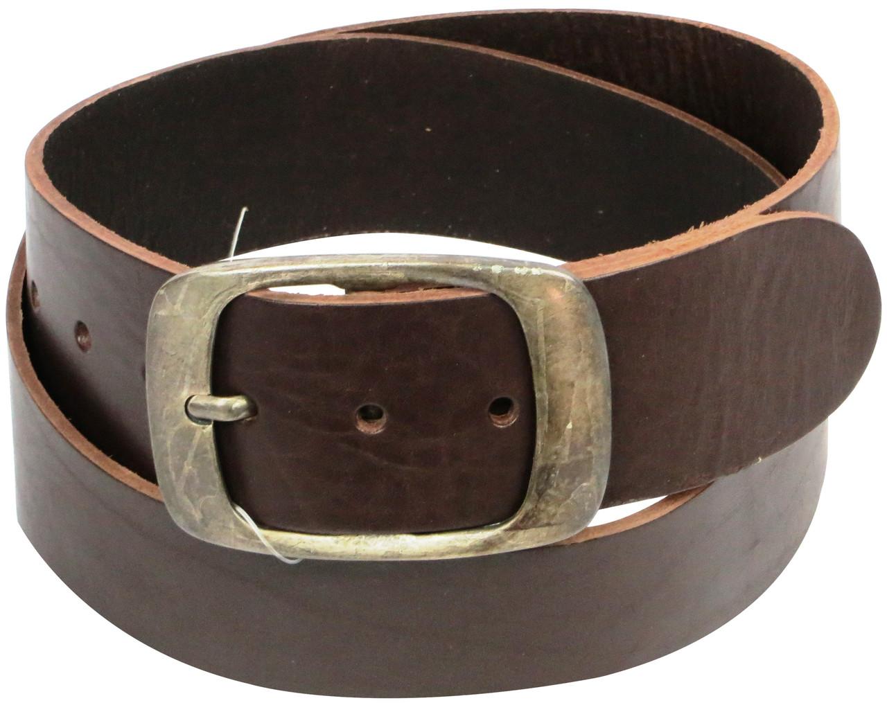 Широкий ремень под джинсы из кожи, Cramer & Co, Германия, 100121 темно коричневый, 5х109 см