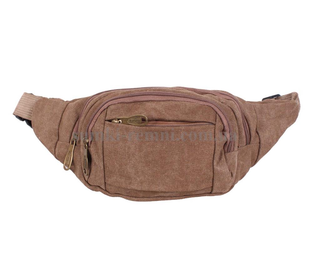 Мужская сумка на пояс бежевого цвета