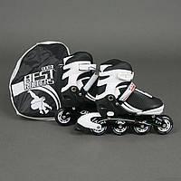 """Ролики 9002 """"М"""" Best Rollers цвет-БЕЛО-ЧЕРНЫЙ /размер 35-38/ (6) колёса PU, без света, в сумке, d=7"""