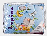 """Постельный набор в детскую кроватку """"Bepino"""" улыбочка голубой слоник"""