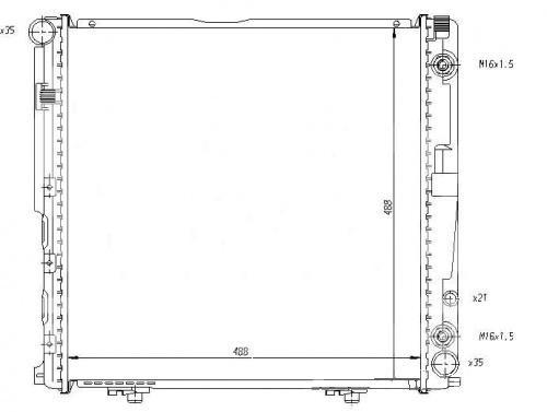 Радиатор охлаждения Mercedes 124 1992-1995 (2.0-2.2 АКП) 490*490мм плоские соты KEMP