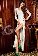 Платье в пол с разрезом (Белый)