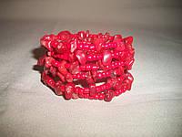 """Браслет ручной работы с натуральным камнем """"Коралл"""", фото 1"""
