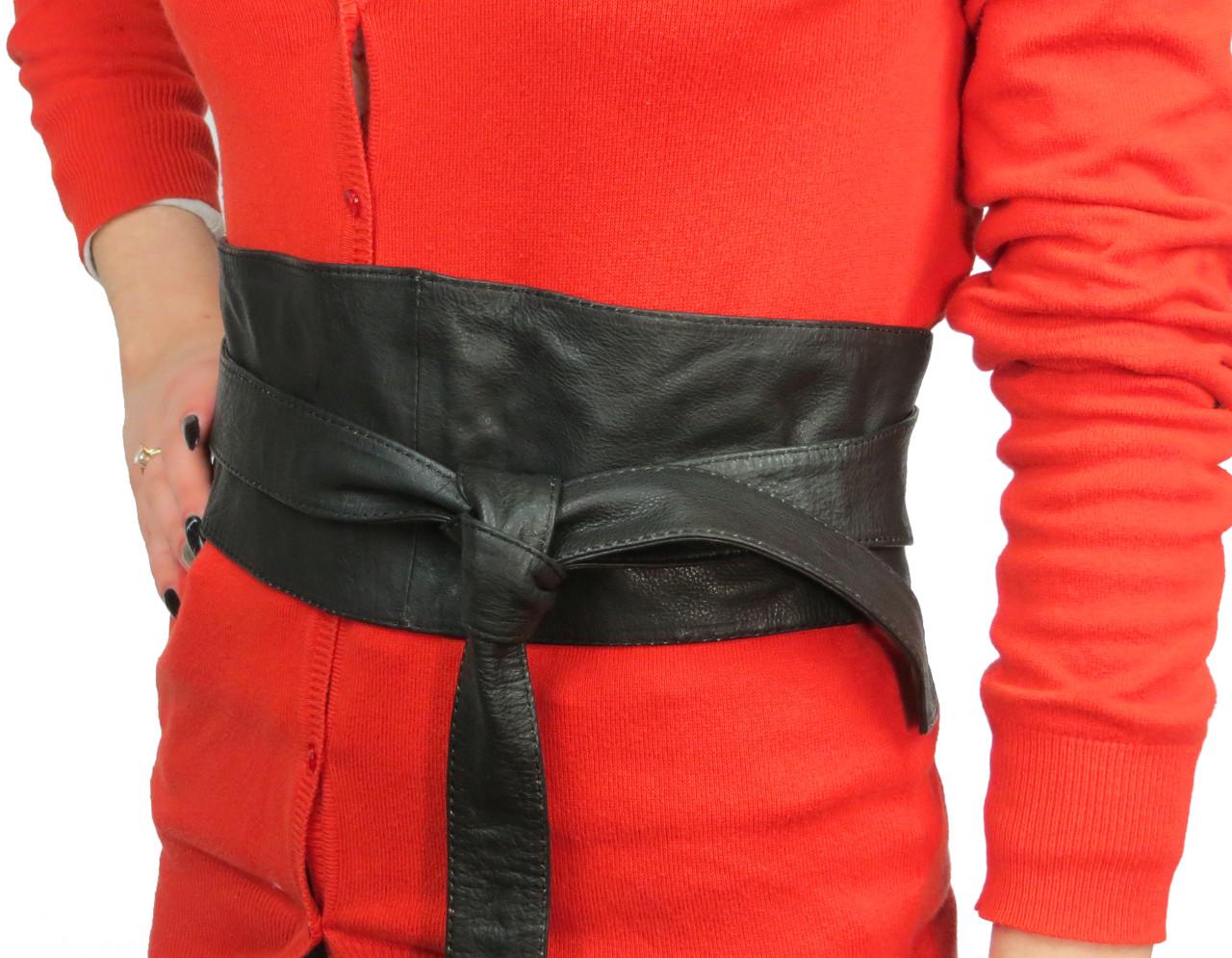 Корсет, кушак, пояс женский кожаный Vanzetti, 100263 черный (длина 221 см)
