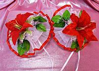 Украшение на зеркала для свадебного автомобиля - (свадебные украшения для автомобиля фото)