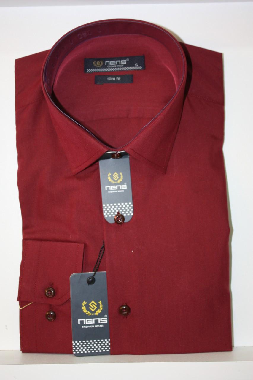 Однотонная бордовая мужская рубашка Nens