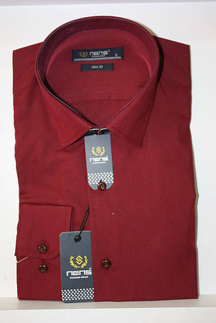 Однотонная бордовая мужская рубашка Nens, фото 2
