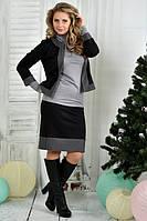 Черный костюм  0389-2  жакет + юбка (на фото с гольфиком 390)
