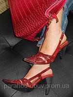 Босоножки женские кожаные красные № 18190