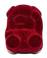 """Бархатная коробочка для кольца. """"поросёнок"""" Цвет:бордовый. Высота: 5 см. Ширина: 3,5 см."""