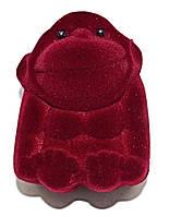 """Бархатная коробочка для кольца. """"обезьяна"""" Цвет:бордовый. Высота: 5 см. Ширина: 4 см."""