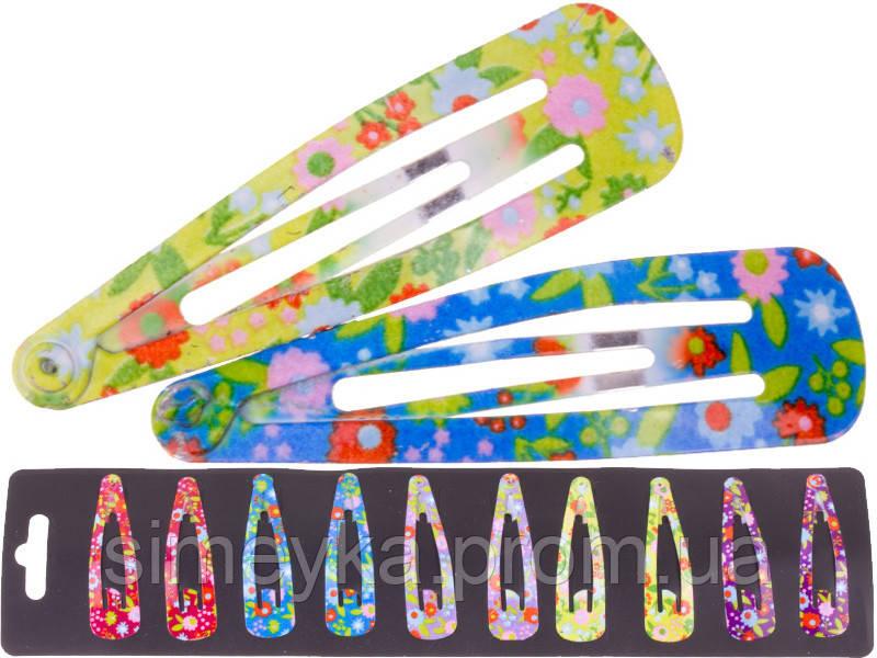 Заколка тік-так на чолку (хлопалка) в квіточки 5 см, уп. 10 шт. (по 2 кожного кольору)