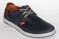 Кожанные демисезонные мужские  кроссовки Clarks синего цвета