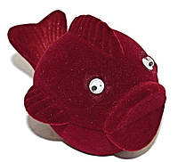 """Бархатная коробочка для кольца. """"рыба"""" Цвет:бордовый. Высота: 6 см. Ширина: 6 см."""