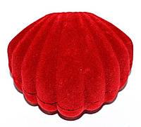 """Бархатная коробочка для кольца. """"раковина"""" Цвет: красный. Высота: 5 см. Ширина: 6 см."""