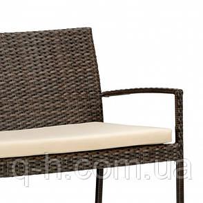 Софа плетеная из искусственного ротанга двухместная 130 см Akra коричневая, фото 2