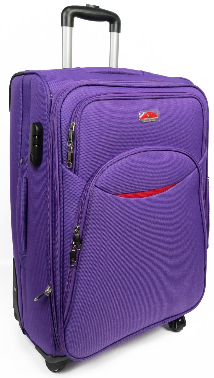 Средний тканевый чемодан 56 л. на 4-х колесах Suitcase 013754-violet
