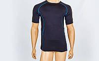 Компрессионная мужская футболка с коротким рукавом LD-1102-B (лайкра, L-3XL (46-54), черный-синий)