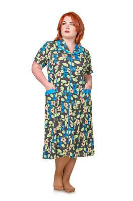 Халат большой размер Вероника голубой 50-60