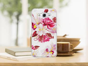 Чехол бампер силиконовый для Samsung Galaxy J1 J00 с картинкой букет цветов на белом фоне