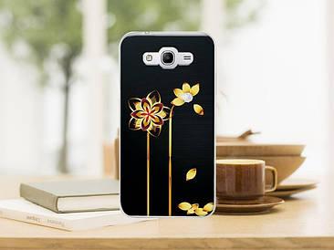 Чехол бампер силиконовый для Samsung Galaxy J1 J00 с картинкой золотые цветы