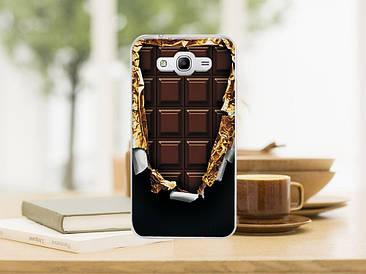 Чехол бампер силиконовый для Samsung Galaxy J1 J00 с картинкой плитка шоколада