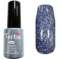 Гель лак Tertio Бледно-голубой с блестками №075